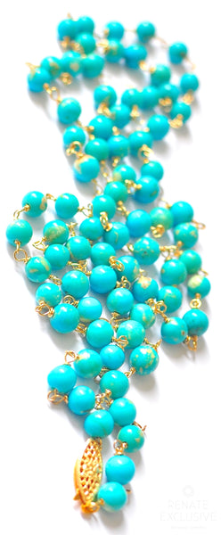 "Breathtaking White Water Mexican Turquoise Necklace ""White Water"""