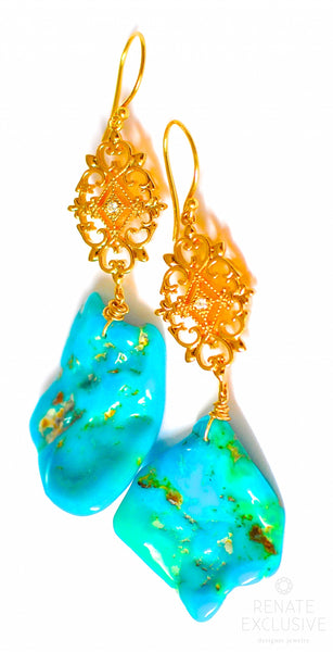 "Sleeping Beauty Turquoise Earrings ""Different Beauty"""