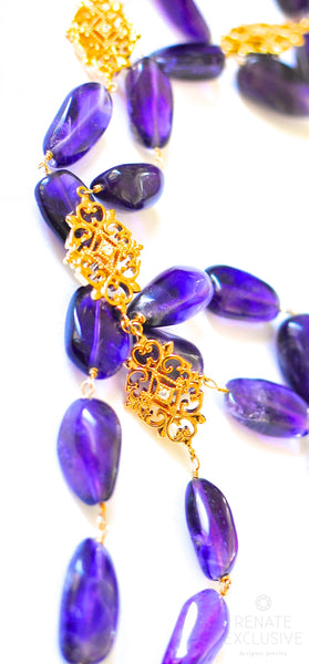 "Very Long Amethyst Nugget Necklace with Shiny Pendants ""Amethyst Queen"""