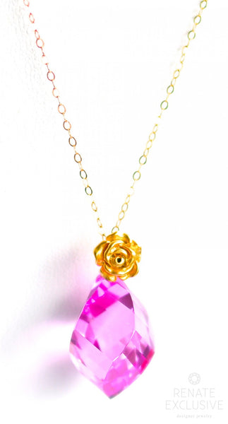 "Simple Pink Topaz Necklace ""Pink Flower"" - Handmade Jewelry - Renate Exclusive - 1"