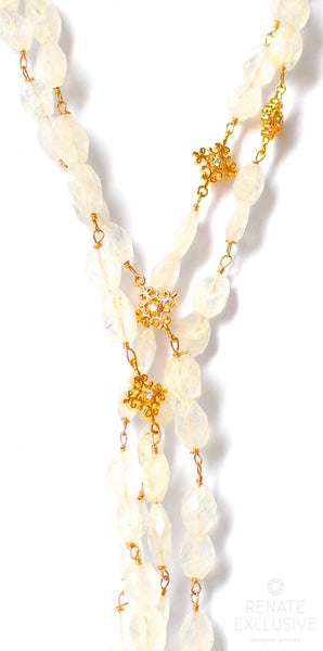 "Very Long Moonstone Necklace with Shiny Pendants ""Moonstone Queen"""
