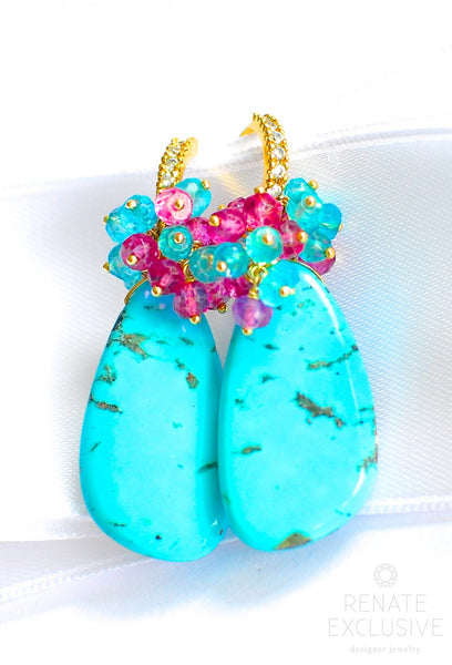 "Bold Style Sleeping Beauty Earrings ""Turquoise Queen"" - Handmade Jewelry - Renate Exclusive - 1"