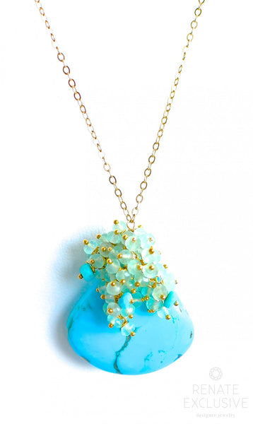 "Long Turquoise Necklace ""Summer Queen2"" - Handmade Jewelry - Renate Exclusive - 1"