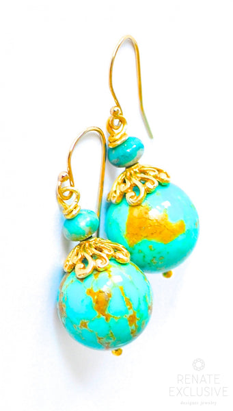 "Timeless Kingman Turquoise Round Earrings ""Round and Round"""