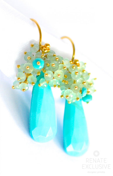 "Luxury and Unique Sleeping Beauty Turquoise Earrings ""Exotica"" - Handmade Jewelry - Renate Exclusive - 1"
