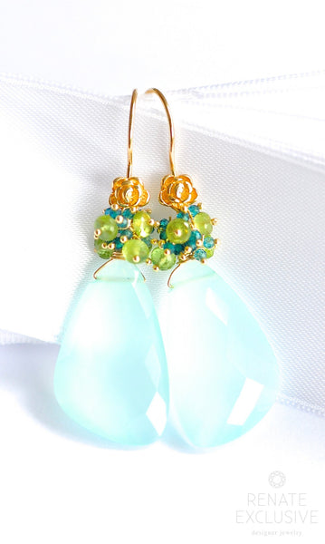 "Lovely Seafoam Chalcedony Earrings ""Laguna Beach"" - Handmade Jewelry - Renate Exclusive - 1"