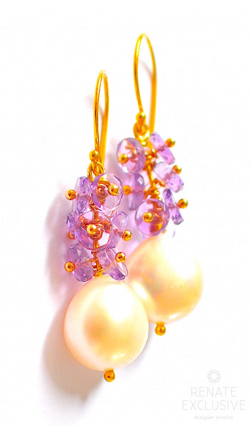 "Lovely Freshwater Pearl and Amethyst Earrings ""Simple Treasure"""