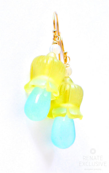 "Cute Lemon Quartz and Seafoam Chalcedony Flower Bell Earrings ""Lily Of the Valley"""