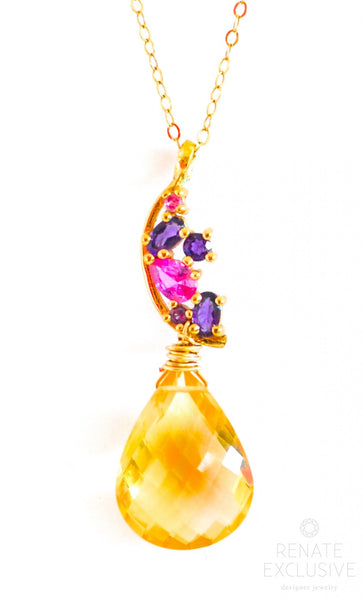 "Luxurious Golden Citrine Necklace with Colorful Pendant ""Fancy Christmas"" - Handmade Jewelry - Renate Exclusive - 1"
