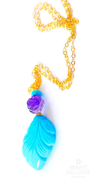 "Simple Turquoise and Amethyst Flower Necklace ""Turquoise Leaf"""