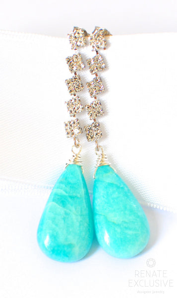 "Winter Glamour Amazonite Earrings ""Winter Glamour"" - Handmade Jewelry - Renate Exclusive - 1"