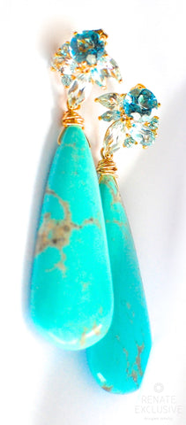 "Handmade Jewelry: Holiday Special! Deluxe Kingman Turquoise Earrings ""Luxe Style Queen"" - Handmade Jewelry - Renate Exclusive - 1"