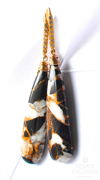 "Long and Unique Ivory Calcite and Copper Obsidian Earrings ""Black Magic II"" - Handmade Jewelry - Renate Exclusive - 1"