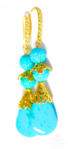 "Handmade Jewelry: Nacozari Turquoise with Hand Carved Arizona Turquoise Earrings ""Arizona Beauty"""