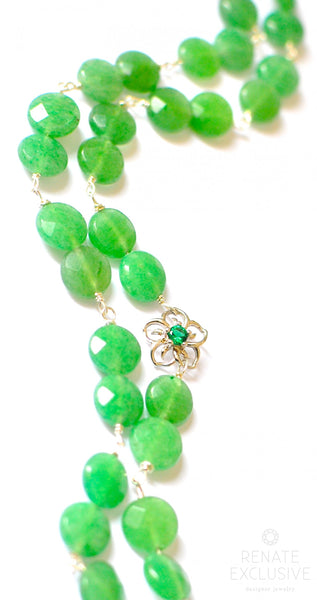 "Long Green Aventurine Coin Necklace ""Nature Woman"""