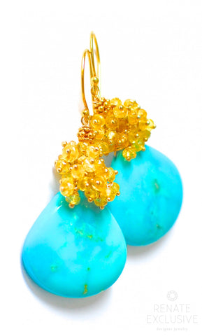 "Handmade Jewelry: Large Sleeping Beauty Turquoise with Yellow Sapphire earrings ""Laguna Blue"""