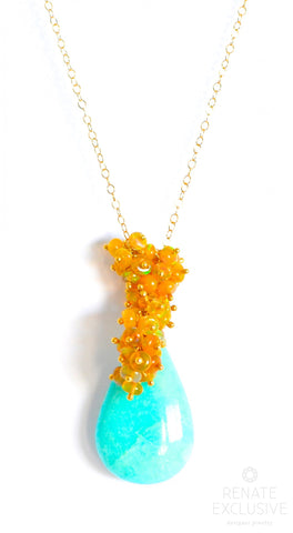 "Handmade Jewelry: Deluxe Amazonite and Ethiopian Opal Necklace ""Golden Queen II"" - Handmade Jewelry - Renate Exclusive - 1"