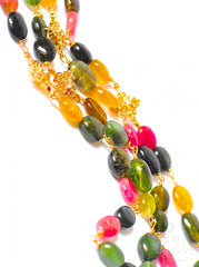 "Long Multi Tourmaline Necklace with Pendants "" Colorful Spring"""