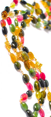 "Handmade Jewelry: Long Multi Tourmaline Necklace with Pendants "" Colorful Spring"""