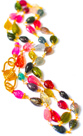 "Handmade Jewelry: Luxurious Multi Tourmaline Carved Necklace ""Colorful Lola"""