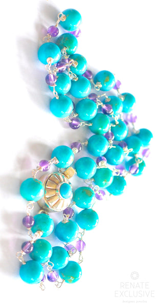 "Sonoran Blue Turquoise and Amethyst Necklace ""Power of Love"""