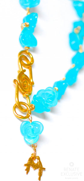 "Turquoise Blue Quartz Carved Flower Bead Bracelet with Love Bird Charm ""Love Bird"""