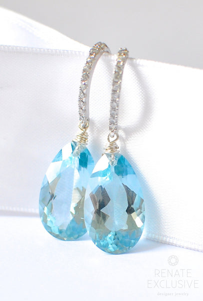 "Luxury Sky Blue Topaz Earrings ""Dreamland"" - Handmade Jewelry - Renate Exclusive - 1"