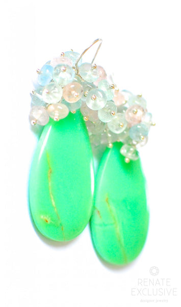 "Luxurious Chrysoprase, Morganite and Aquamarine Earrings ""Mermaid"""