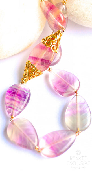 "Lovely Rainbow Carved Leaf Fluorite Necklace ""Rainbow"""
