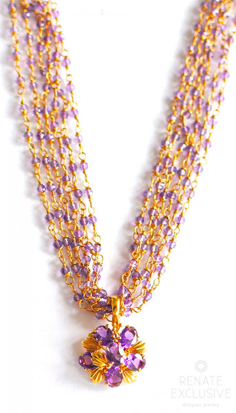 "HOLIDAY Special! Luxurious Lavender Purple Amethyst, 14K Yellow Gold Retro Floral Amethyst Pendant Necklace ""Retro Luxe"""