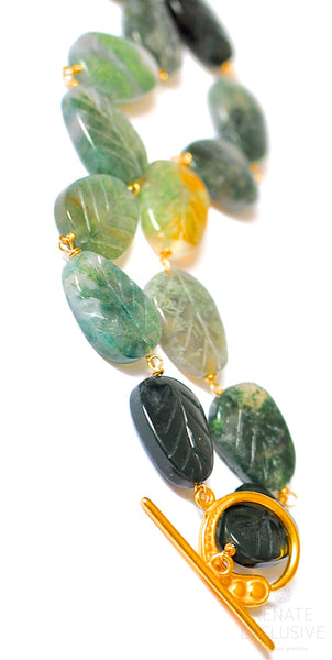 "Natural Moss Carved Leaf Agate Necklace ""Spring Forest"""