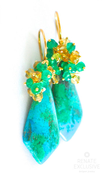 "Pre-Spring Chrysocolla Earrings ""Grace"" - Handmade Jewelry - Renate Exclusive - 1"