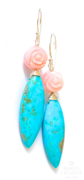 "Nacozari Turquoise and Pink Peruvian Opal earrings ""Paris"""