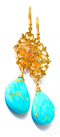 "Handmade Jewelry: Kingman Turquoise Polished Hearts Earrings with Filigree ""Filigree Turquoise"""