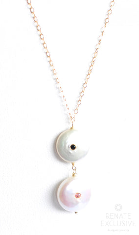 "Handmade Jewelry: Unique White Coin Pearl Necklace ""Time"" - Handmade Jewelry - Renate Exclusive - 1"