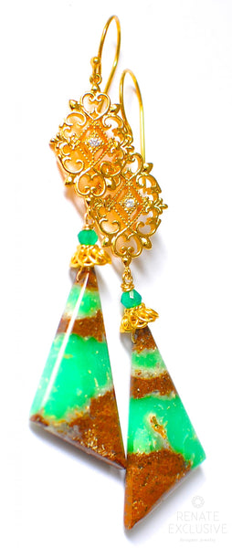 "Long Australian Chrysoprase Earrings with Filigree ""Queen Mary"""