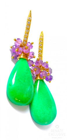 "Handmade Jewelry: Natural Chrysoprase and Amethyst Earrings ""Funny"""