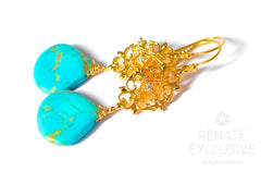 "Kingman Turquoise Polished Hearts Earrings with Filigree ""Filigree Turquoise"""
