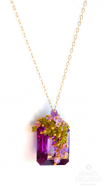 "Luxurious Alexandrite Briolette and Multi Color Gemstone Necklace ""Now We are free"" - Handmade Jewelry - Renate Exclusive - 1"