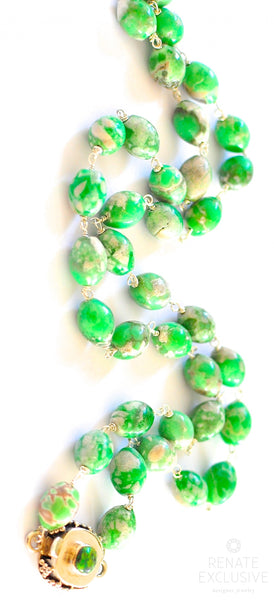 "Luxurious Variscite Necklace with Arizona Primavera Clasp ""Greenland"""