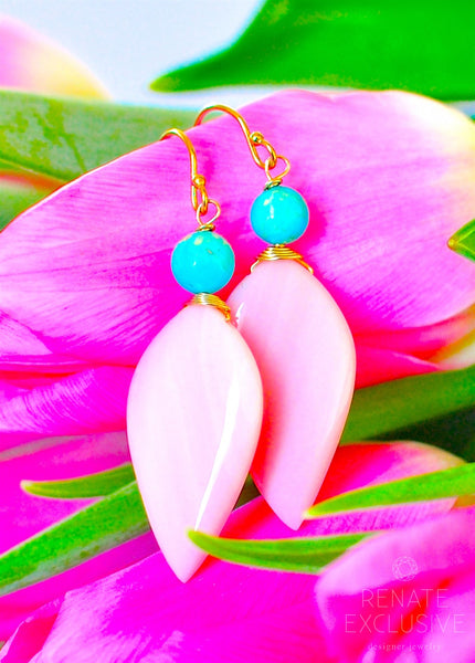 "Breathtaking Pink Opal and White Water Mexican Turquoise Earrings ""Turquoise Pink Beauty"""
