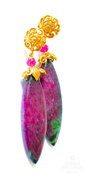 "Big Ruby Zoisite Earrings ""Ruby Roy"""