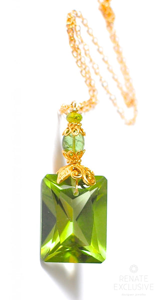 "Luxurious Green Amethyst Necklace with Tourmaline ""FallFall"""