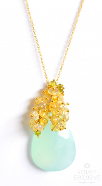 "Seafoam Chalcedony and Ethiopian Opal Necklace ""Sea"""