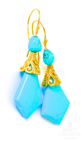 "Handmade Jewelry: Unique Nacozari Turquoise Earrings ""Lady Like"""