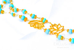 "Long Sleeping Beauty Turquoise and Golden Ethiopian Opal Necklace with Lotus Charm ""Lotus"""