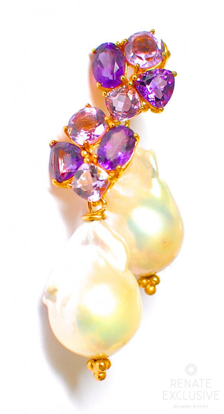 "Giant Baroque Pearl Earrings with Amethyst ""LuxeLife"""