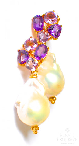 "Handmade Jewelry: Giant Baroque Pearl Earrings with Amethyst ""LuxeLife"""