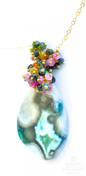 "Huge Ocean Jasper Necklace ""Green Ocean"""