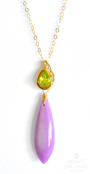 "Long Phosphosiderite Necklace with Peridot Green Pendant ""Lavendula"""